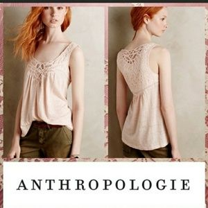 Anthropologie meadow rue pink chotched lace tank